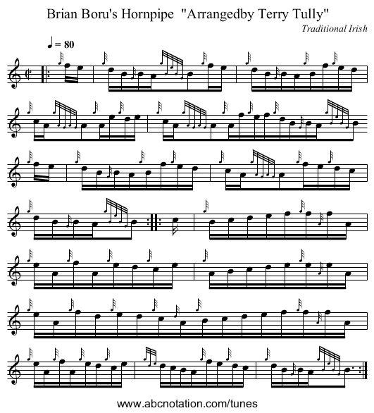 Brian Boru's Hornpipe  Arrangedby Terry Tully - staff notation