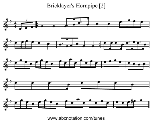 Bricklayer's Hornpipe [2] - staff notation