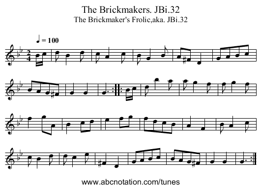 Brickmakers,The. JBi.32 - staff notation