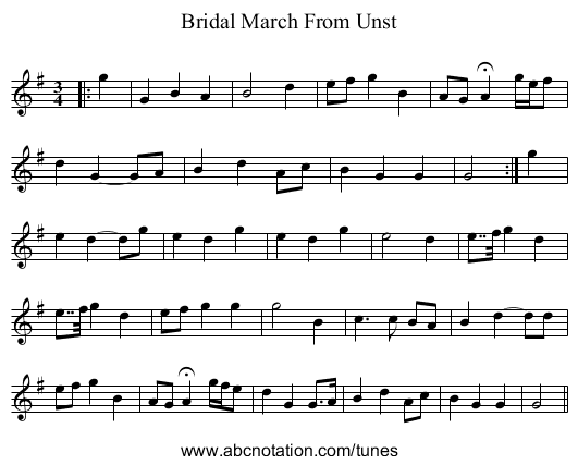 Bridal March From Unst - staff notation