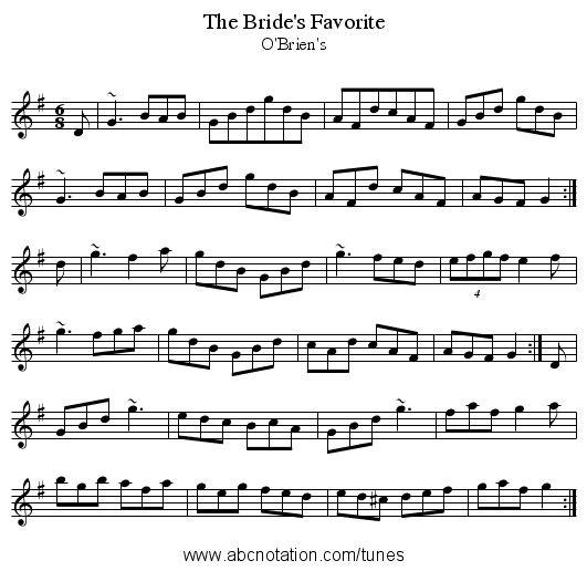 Bride's Favorite, The - staff notation