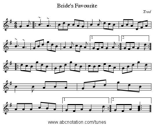 Bride's Favourite - staff notation