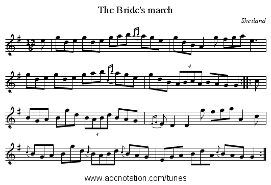 Bride's march, The - staff notation