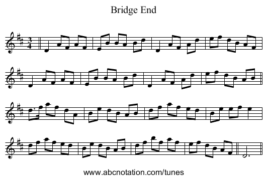 Bridge End - staff notation