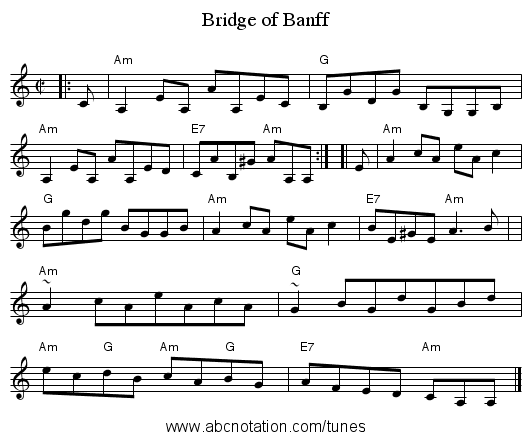 Bridge of Banff - staff notation