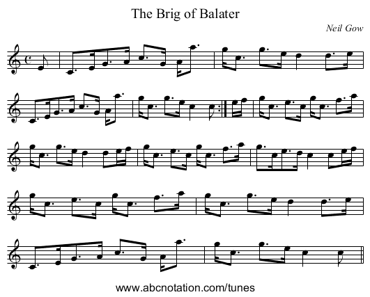 Brig of Balater, The - staff notation