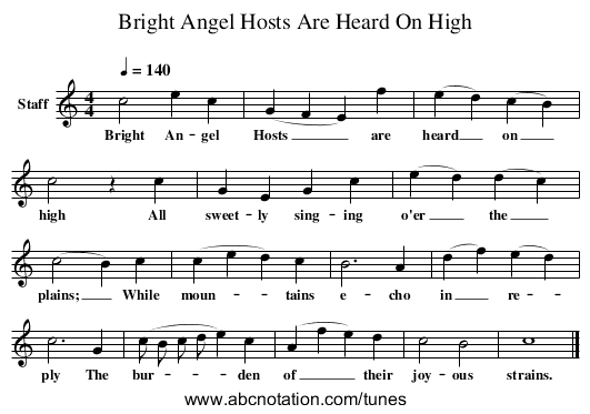 Bright Angel Hosts Are Heard On High - staff notation