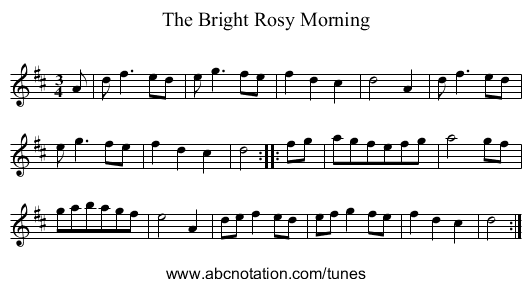 Bright Rosy Morning, The - staff notation