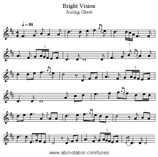 Bright Vision - staff notation