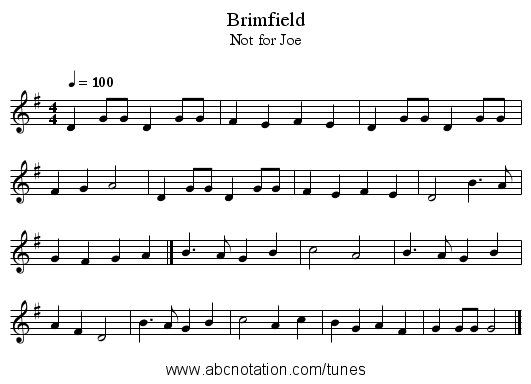 Brimfield - staff notation