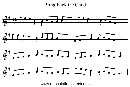 Bring Back the Child - staff notation