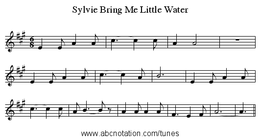 Bring Me Little Water, Sylvie - staff notation