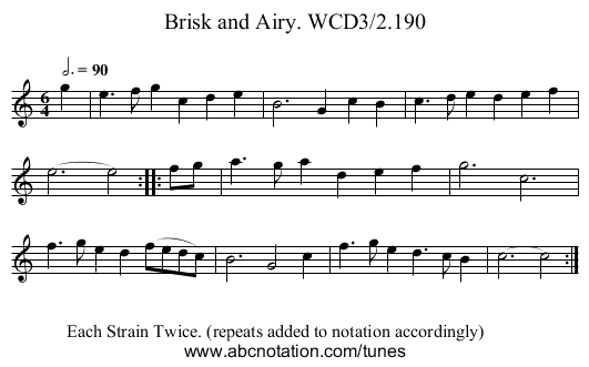 Brisk and Airy. WCD3/2.190 - staff notation