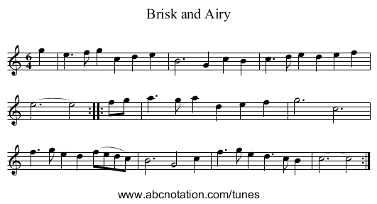 Brisk and Airy - staff notation