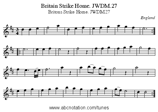 Britain Strike Home. JWDM.27 - staff notation