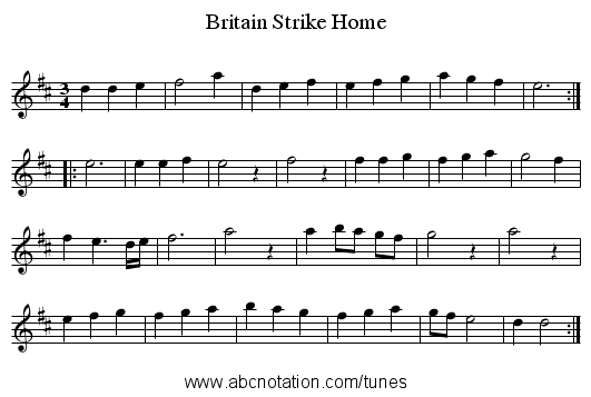 Britain Strike Home - staff notation