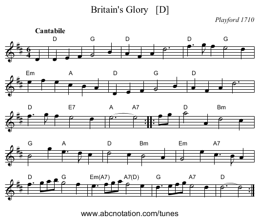 Britain's Glory   [D] - staff notation