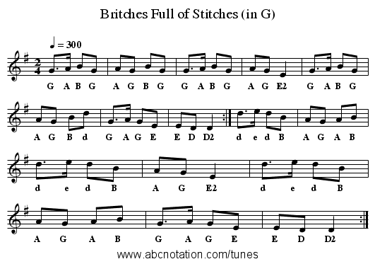 Britches Full of Stitches (in G) - staff notation