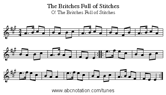 Britches Full of Stitches, The - staff notation