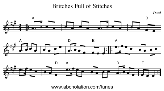 Britches Full of Stitches - staff notation