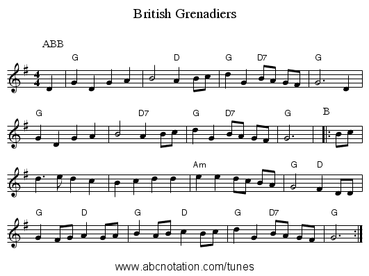 British Grenadiers - staff notation