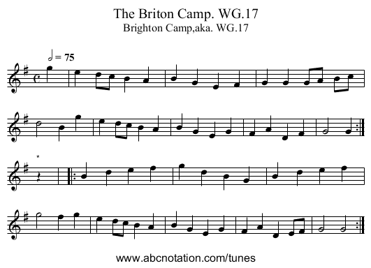 Briton Camp. WG.17, The - staff notation