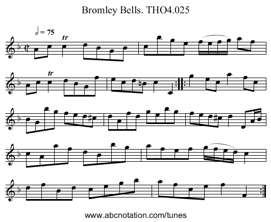 Bromley Bells. THO4.025 - staff notation