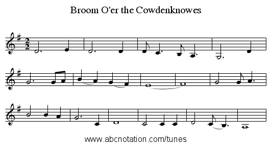 Broom O'er the Cowdenknowes - staff notation