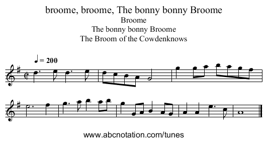 broome, broome, The bonny bonny Broome - staff notation