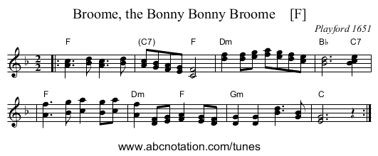 Broome, the Bonny Bonny Broome    [F] - staff notation