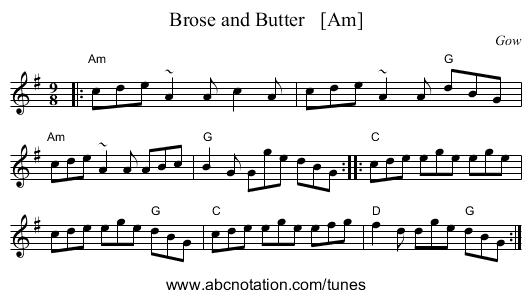 Brose and Butter   [Am] - staff notation