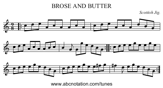 BROSE AND BUTTER - staff notation