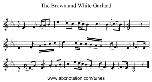 Brown and White Garland, The - staff notation