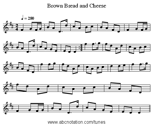 Brown Bread and Cheese - staff notation