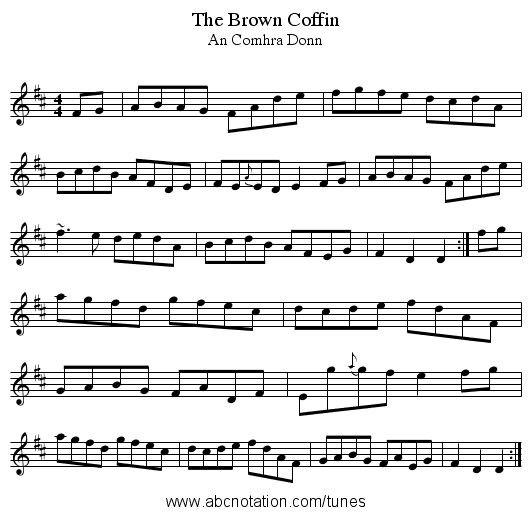 Brown Coffin, The - staff notation