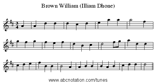 Brown William (Illiam Dhone) - staff notation