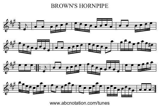 BROWN'S HORNPIPE - staff notation