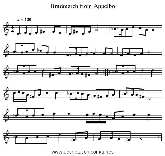 Brudmarch from Appelbo - staff notation