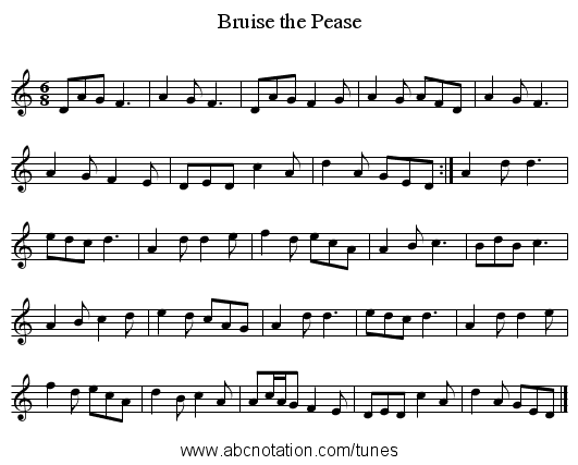 Bruise the Pease - staff notation