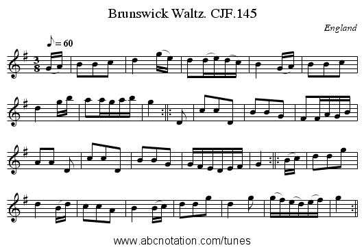 Brunswick Waltz. CJF.145 - staff notation