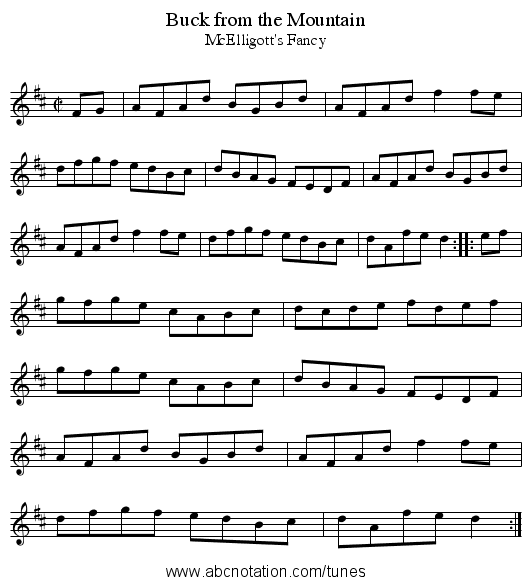 Buck from the Mountain - staff notation