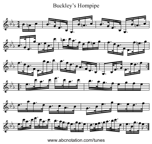 Buckley's Hornpipe - staff notation