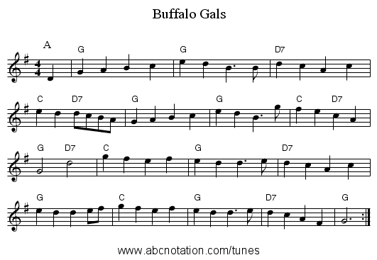 Buffalo Gals - staff notation