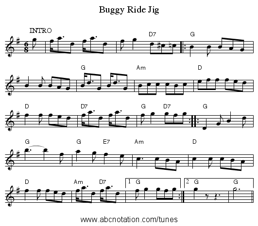 Buggy Ride Jig - staff notation