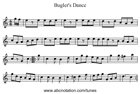 Bugler's Dance - staff notation