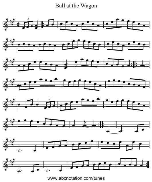 Bull at the Wagon - staff notation