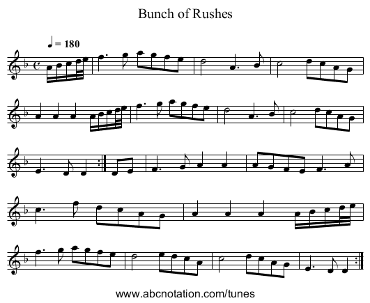 Bunch of Rushes - staff notation