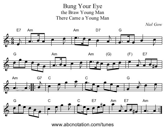 Bung Your Eye - staff notation