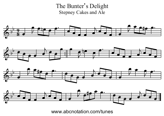 Bunter's Delight, The - staff notation