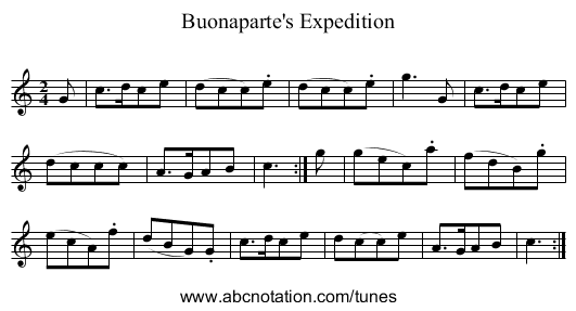 Buonaparte's Expedition - staff notation